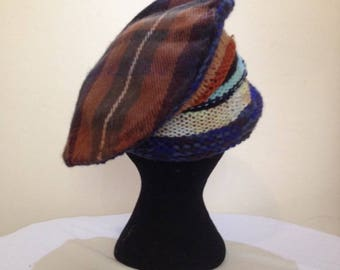 Brown Tartan Hat with knitted base