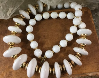 Brightest White Long Disk Round Lucite Bead Necklace Unsigned 1960's 1970's Gold Tone Spacer Beads Graduated Sizing Single Strand Day Wear