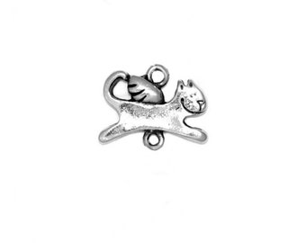 Cat Angel (Nickel Plated Pewter) Original Charm by Clayvision (Quantity Discounts) Cute Happy Kawaii Kitty Kitten Tabby