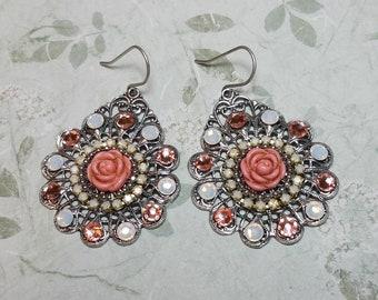 Mandala Jewelry, Gypsy Earrings, Boho Earrings, Bohemian Earrings, Pink, Silver, Crystal, Dangle Earrings, Pink Rose, Statement Earrings