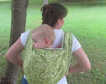 SALE Woven Baby Wrap Carrier - Linen Blend Pistachio Whirl - Size 4 or 6 - DVD included, neutral wrap color