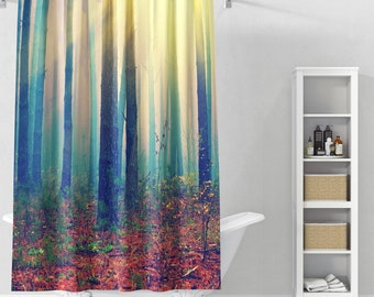 Deep In The Forest Shower Curtain | Forest Bathroom Decor | Tree Bathmat |  Nature Home Decor | Boho Bathroom Decor | Bath Curtain