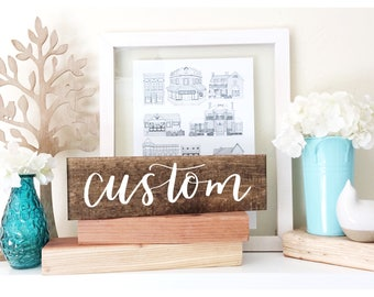 Custom Wood Sign - 12 inch Wood Sign - Personalized Gift - Rustic Wood Sign - Wedding Wood Sign - Wedding Decor - Gift for Her - Custom Gift