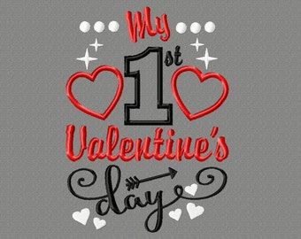 Buy 3 get 1 free! My first Valentine's Day applique embroidery design