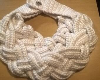 White Braided Crocheted Scarf