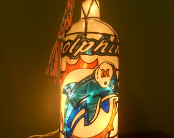 Miami Dolphins Inspired Wine Bottle Lamp Hand Painted Stained Glass Look Lighted