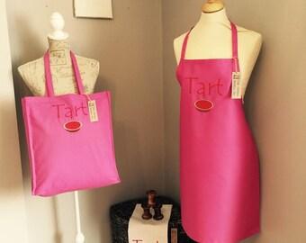 Tote shopper bag Tart! cotton shopping handbag humor handmade embroidered