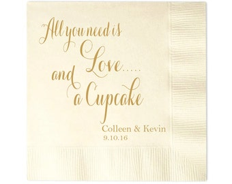 All You Need is Love...and a Cupcake Personalized Wedding Napkins