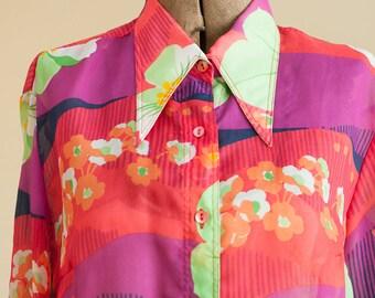 Vintage Blouse - Fun Colorful Sheer Floral 70s Max Aviland Paris