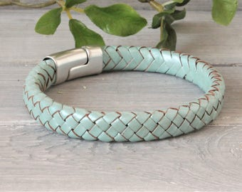 Green Leather Braided Metallic ladies Bracelet