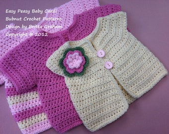Crochet Baby Jacket Pattern - Easy Peasy Cardigan Crochet Pattern No.907 THREE Baby Sizes Digital Download English