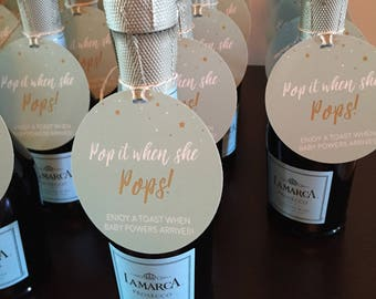 Champagne Baby Shower Tag, Pop it when she POPS, Gender Neutral Baby Shower Ideas, Personalized Gift Tags, Baby Shower Favors, Gender Reveal