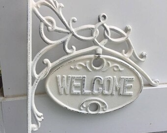 ON SALE, SPRING Sale Welcome Sign, Cast Iron Wall Decor / WeLCoMe Sign / Cast Iron Welcome Sign / Home and Garden Decor / Welcome Decor