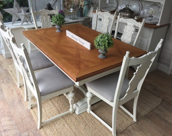 An Antique extending dining table and 6 chairs~painted~shabby chic~french style~