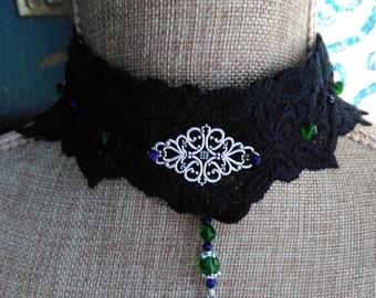 Silver filigree charm and bead chokers