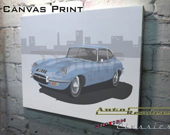 Jaguar E-type 2+2 CANVAS PRINT 12x8(A4) to 36x24(A1) Classic Cars Custom Personalised Premium Illustration Leyland Sixties Vintage V12