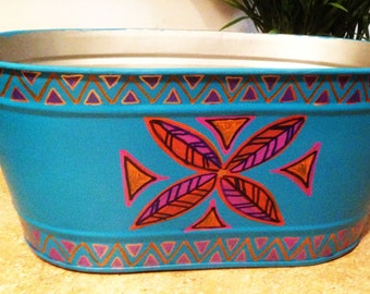"Hand Painted Bohemian Small Metal Oval Turquoise Party Tub To Put Those Drinks on Ice 16.5""Wx6""Hx9""D  X0065"