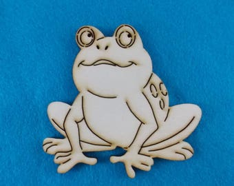 2 frogs, wood, 8 x 8 cm  (10-0024A)