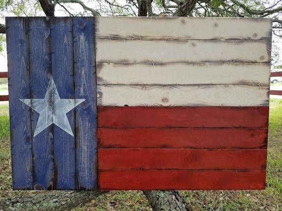 "Rustic Wooden Texas Flag 28""x42"""