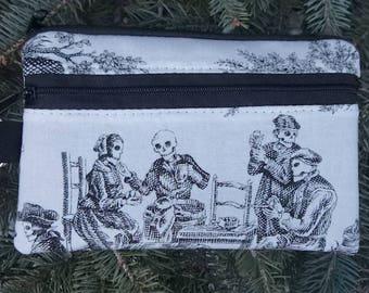 Skeleton wallet, purse organizer, iPhone purse, wristlet, Midnight Pastoral, Sweet Pea