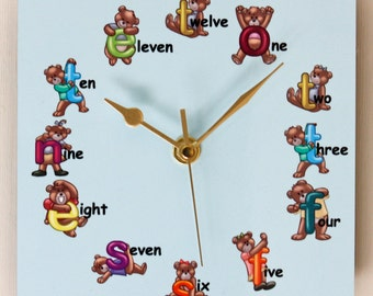 Teddy Bear Letters - Square Wall Clock