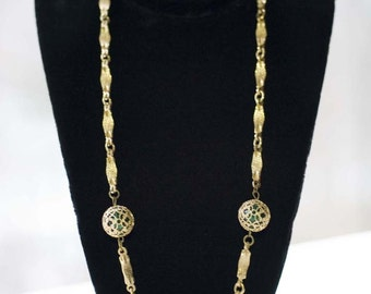 1960s Green and Gold Beaded Chain Necklace