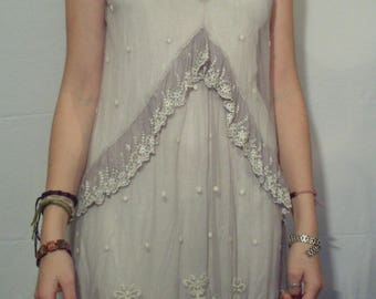 Gray pearls lace tunic