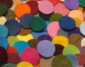 Wool Felt Circles  - 2 inch Die Cuts -Wool Blend Felt Circles