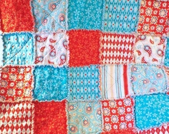 On Sale Rag Quilt - Lap Quilt - Aqua and Red - Paisley Flowers Stripes - Gift For Her