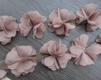 Khaki Chiffon Lace, Soft Chiffon Flowers, Bridal Chiffon Flower Trim, Wedding Sashes Headbands Flower Supplies