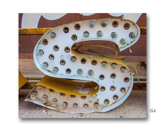Letter Art, Letter S Alphabet Art, Vintage Vegas Neon Sign Letter Fine Art Prints - STYLE S2