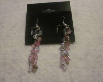 Multi pink & Clear Dangle Earring