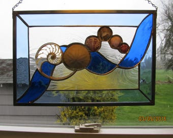 Seashells in a Ribbon of Blue Stained Glass