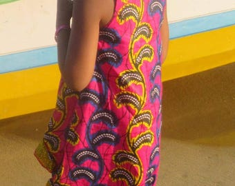 Asymmetric dress with Ruffles in African fabric
