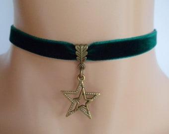 star choker, green velvet choker, star necklace