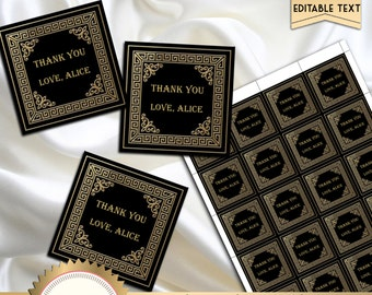 Great Gatsby Art Deco Favor Tag, Wedding Hang Tag, Thank You Tags, Black and Gold, EDITABLE text, DOWNLOAD Instantly, Microsoft® Word Format