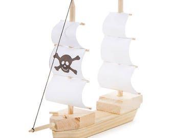 Wooden pirate ship model kit