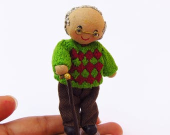 Human figure doll - Grandpa Grandfather doll old man grandparent ornament textile doll miniature granddad doll human figure doll OOAK