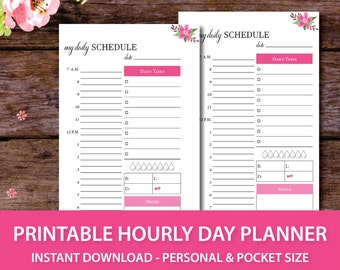 Printable Hourly Day Planner, Day on One Page, Hourly Planner Insert, Hourly Planner Page, DO1P, Day on 1 Page,Personal Insert,Pocket Insert