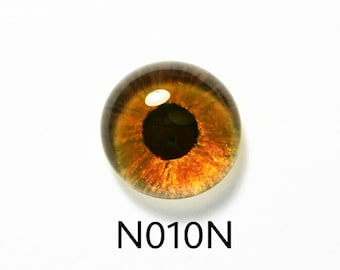 N010N Glass Eye Cabochon (single eye), handpainted on clear domed fused glass, great dog or bear eyes, (browns, dark amber), lightfast.
