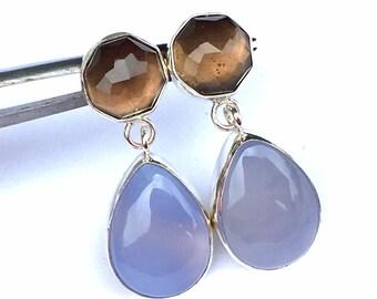 Smokey Quartz and Blue Chalcedony Earrings .. Handmade Gemstone earrings .. Blue Chalcedony Jewelry .. Smokey Quartz Jewelry