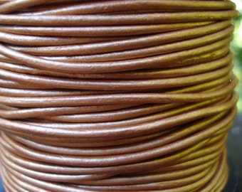 1.5mm bronze metallic leather cord, metallic bronze leather cord