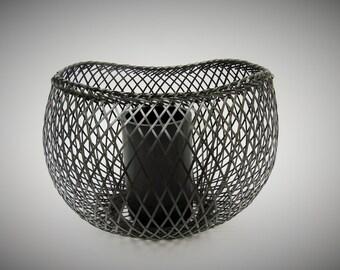 Hanakago bamboo Vase.Vintage Japanese Craft.msjapan.#vas6.