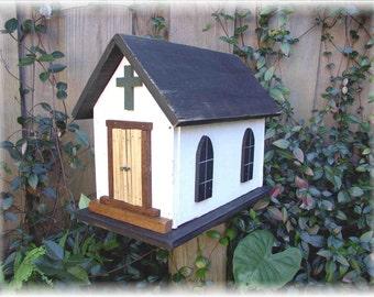 Primitive Folk Art Church Birdhouse