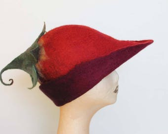 Red Felt Pixie Hat  Made To Order, Hand Felted Hat, Curly Leaf Pixie Hat,