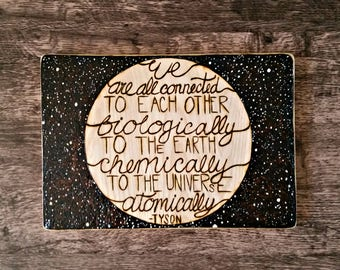 Neil deGrasse Tyson - Science Gift - Gifts for Her - Gifts for Him - Housewarming Gift - Wood Burning Art