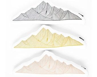 Mountain shaped pillow, accent pillow, cabin decor, mountain plush, decorative pillow, moss green pillow, mountain range. mountain pillow