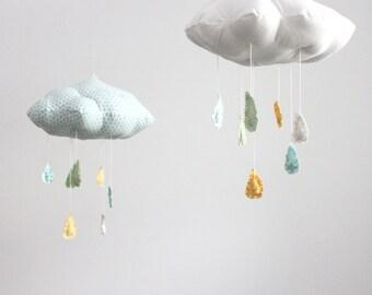 LAST ONE - Polka Dot Cloud Mobile - Tut, tut it looks like rain in white, golden yellow, sky blue, and mint green