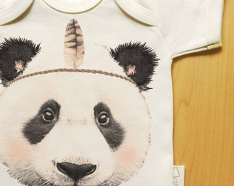 Organic panda baby clothes onesie, panda with feather headband, panda face, gender neutral