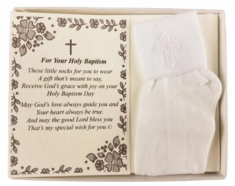 Baptism Keepsake Gift Poetry Baby Boy Socks with Embroidered Cross Design (Size: Age 1-2) - BH201